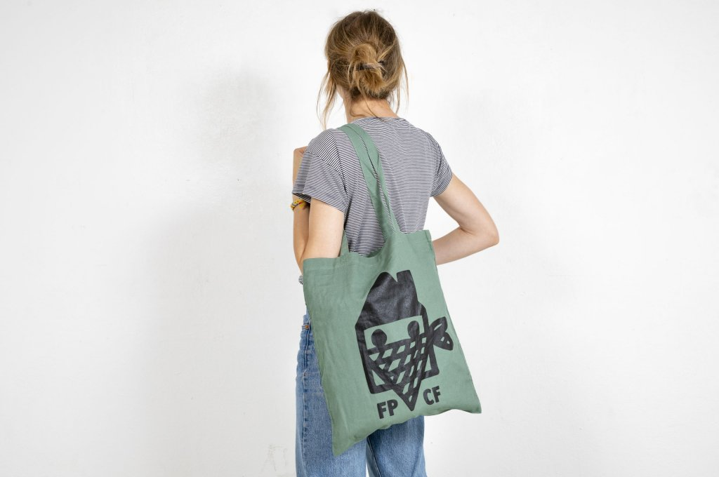 Color dusty light green tote bag